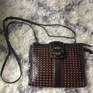 Brighton brown heart two zipper purse